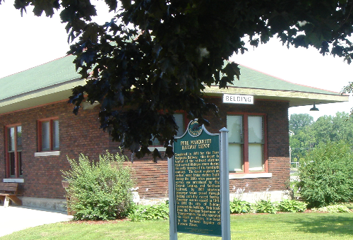 Belding's historic railroad depot is a popular downtown community meeting place.